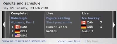 BBC Sports Olympic Site Live
