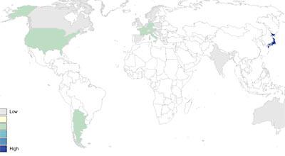 「アラカワ」の分布図