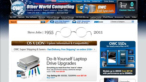Other World Computing's tribute to Steve Jobs