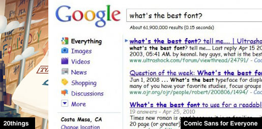 Comic Sans Google Search Results