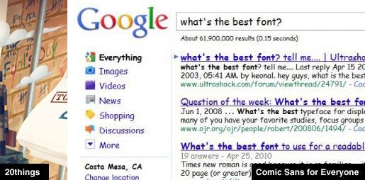 Comic Sans Google Search Results